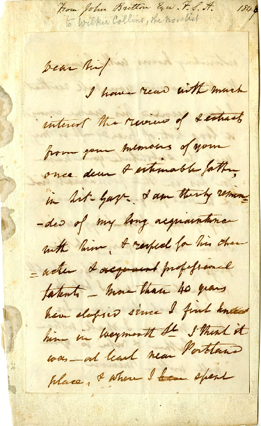 Correspondence from John Britton to Wilkie Collins