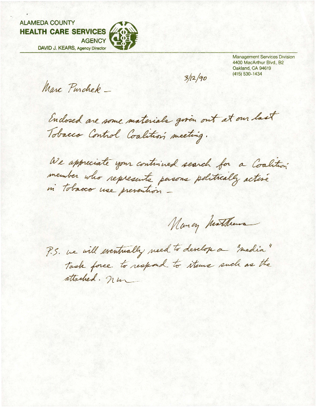 Letter and materials to Marc Purchek from Nancy Matthews