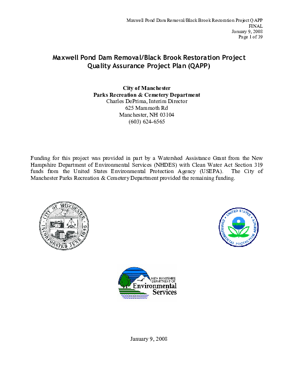 Maxwell Pond Dam Removal/Black Brook Restoration Project Quality Assurance Project Plan (QAPP)