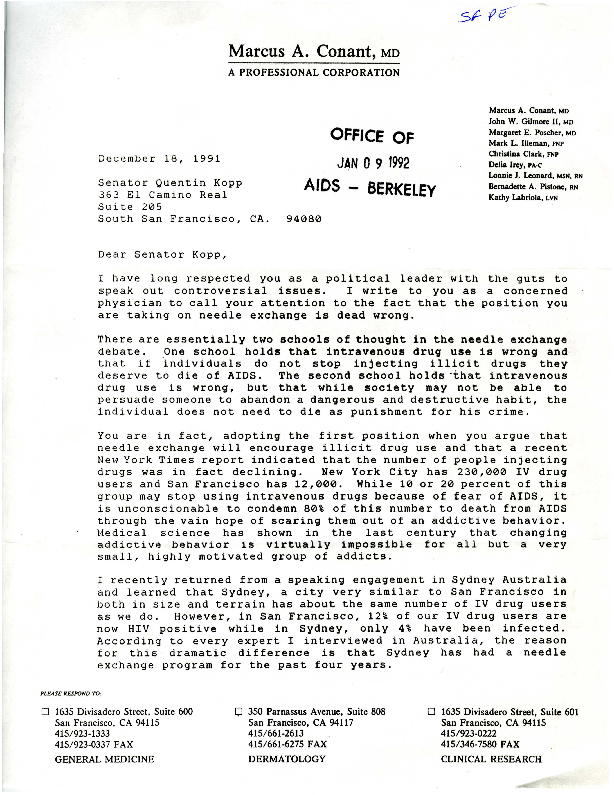 Marcus A. Conant letter to Quentin Kopp