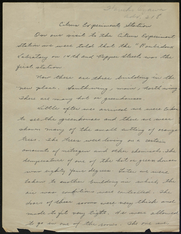Handwritten document on the Citrus Experiment Station