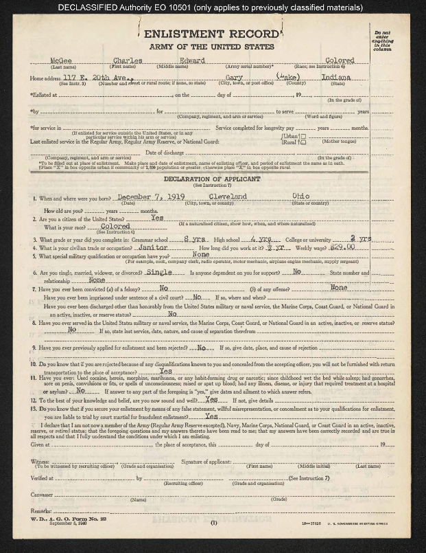Memorandums, special orders, correspondence, and enlistment records for Charles E. McGee