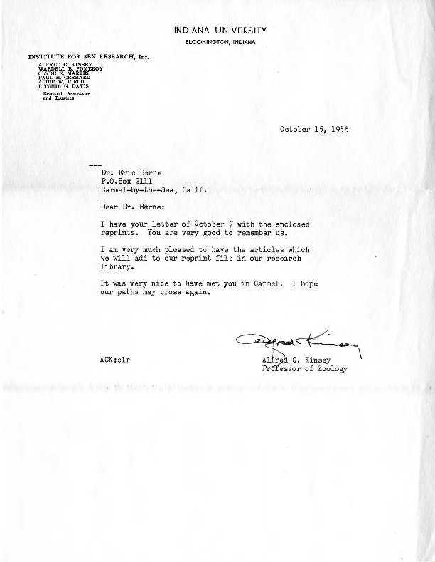 Alfred C. Kinsey letter to Eric Berne, 1955-10-15