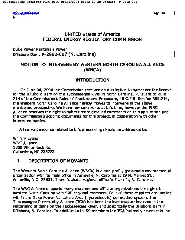 Motion to Intervene by Western North Carolina Aliance (WNCA)