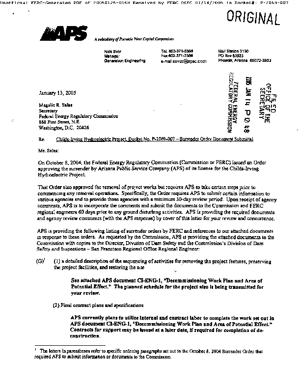 Arizona Public Service Submits Documentation and Agency Review Comments
