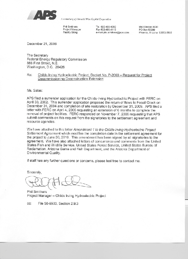 Childs-Irving Hydroelectric: December 2006 APS Request for Extension