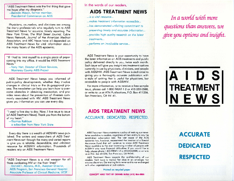 AIDS Treatment News brochure [1]