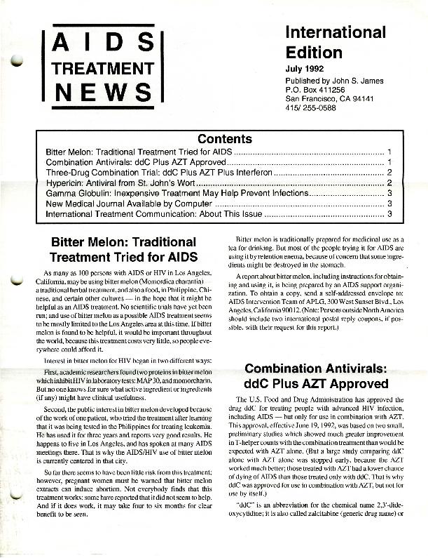 AIDS Treatment News International Edition