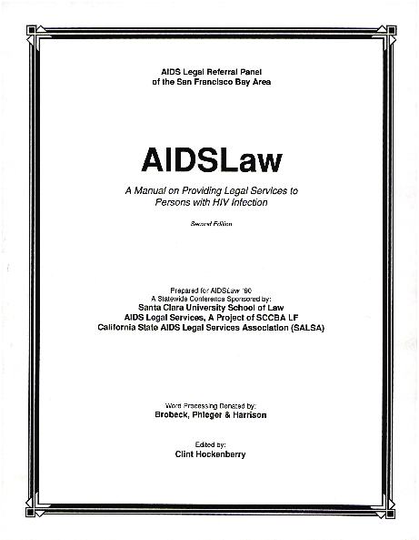 AIDSLaw: A Manual on Providing Legal Services to Persons With HIV Infection