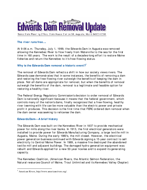 Edwards Dam removal update