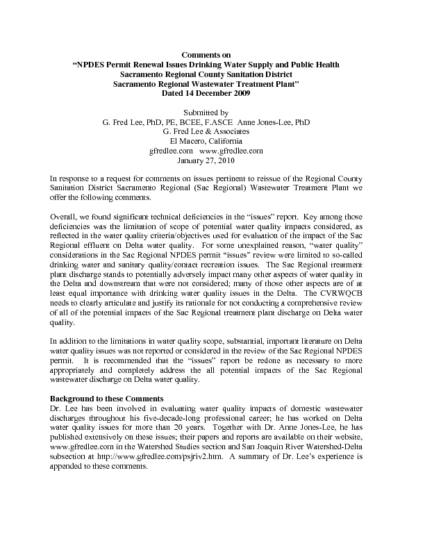 """Comments on """"NPDES permit renewal issues drinking water supply and public health, Sacramento Regional County Sanitation District, Sacramento Regional Wastewater Treatment Plant"""" dated 14 December 2009"""
