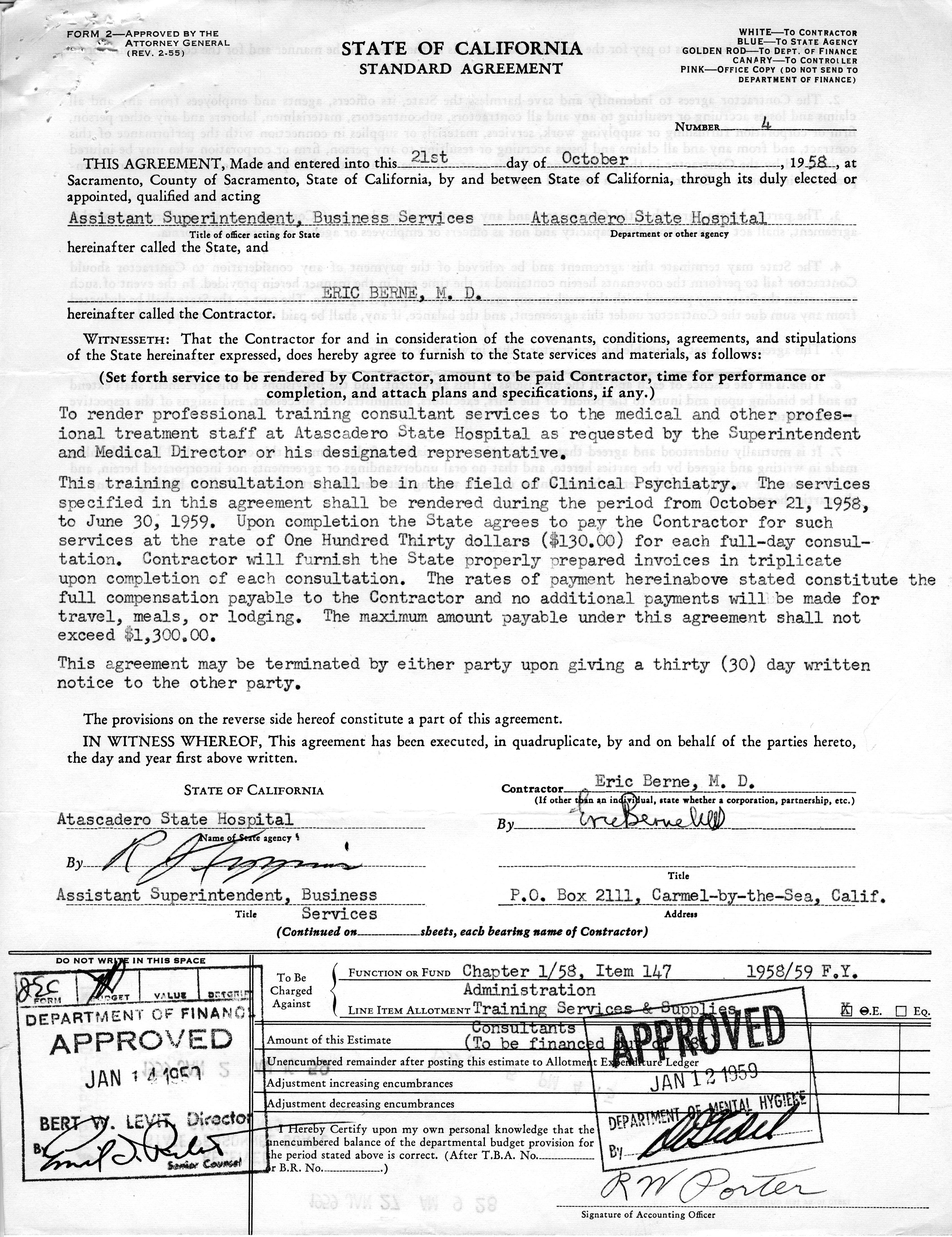 Calisphere state of california standard agreement between state of california standard agreement between atascadero state hospital and eric berne platinumwayz