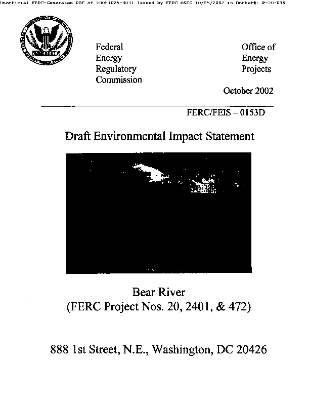Draft Environmental Impact Statement for Hydropower Licensing