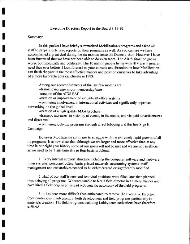Board Meetings: September-November 1992