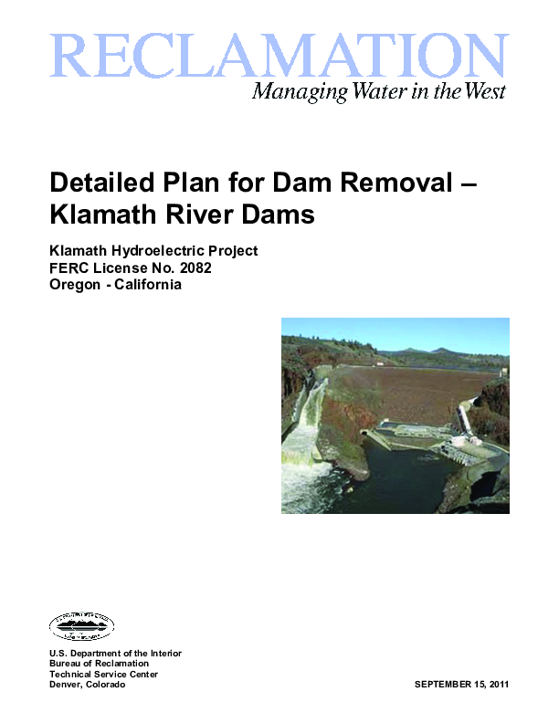 Detailed Plan for Dam Removal - Klamath River Dams