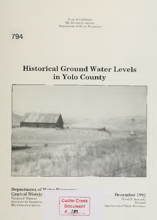 Historical Groundwater Levels In Yolo County