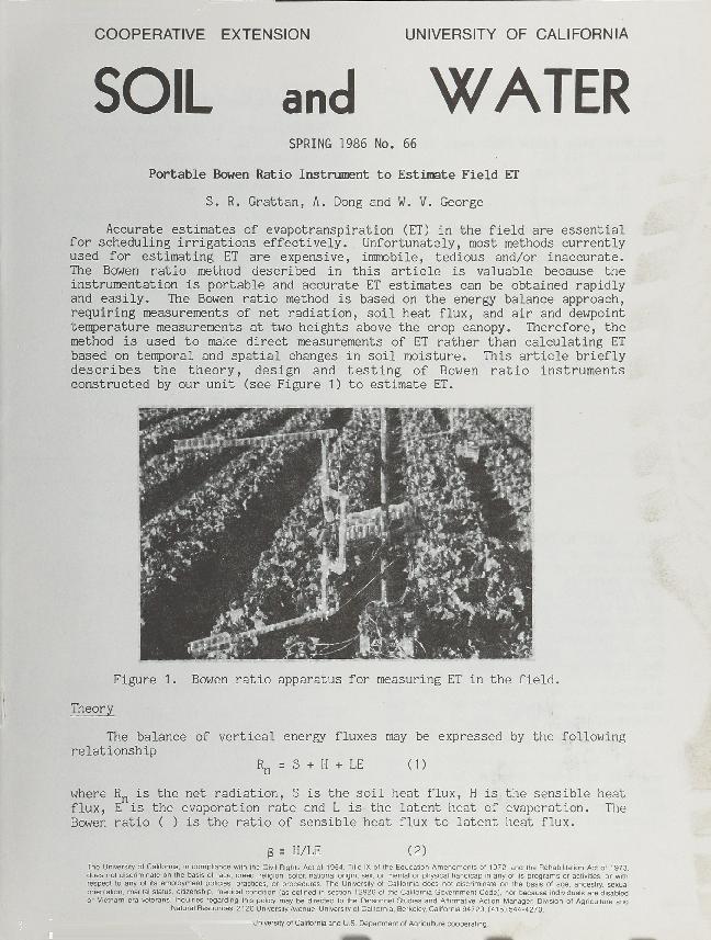 Soil and Water--Portable Bowen Ratio Instrument to Estimate Field ET