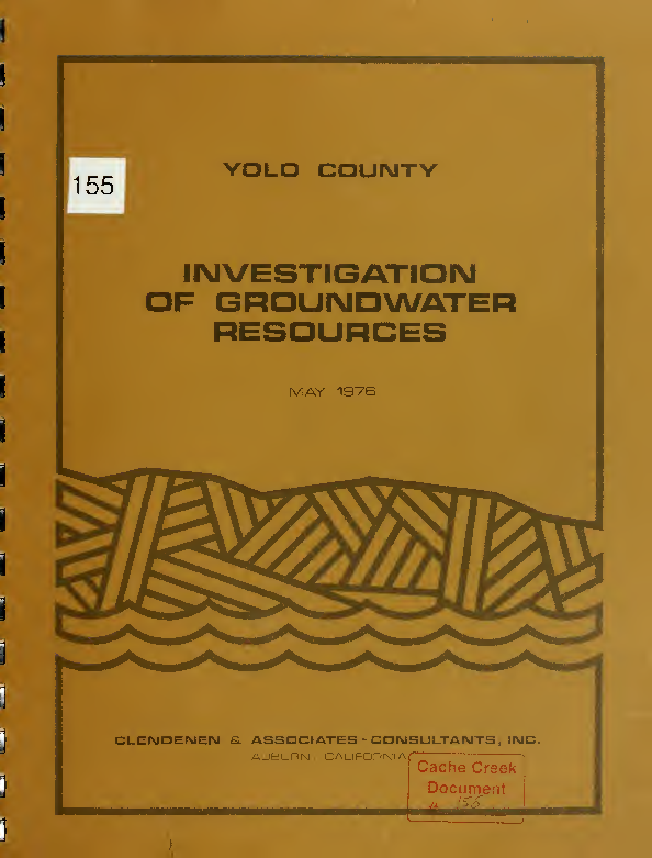 Yolo County Investigation of Groundwater Resources