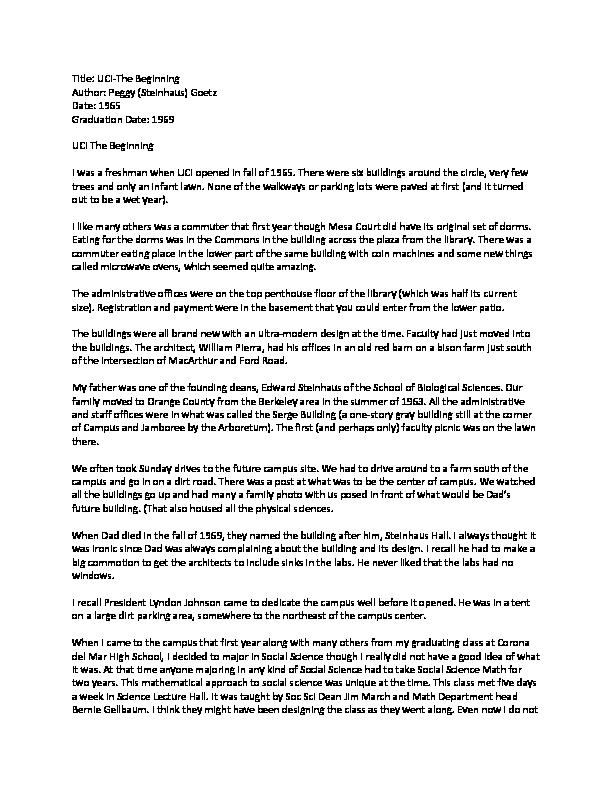 UCI-The Beginning