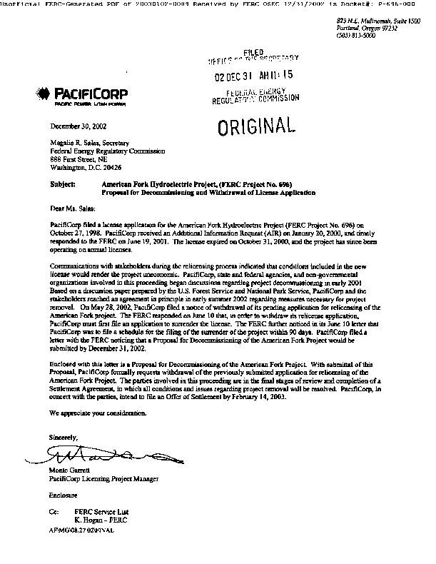 PacifiCorp's Proposal for Decommissioning and Withdrawal of License Application for the American Fork Project