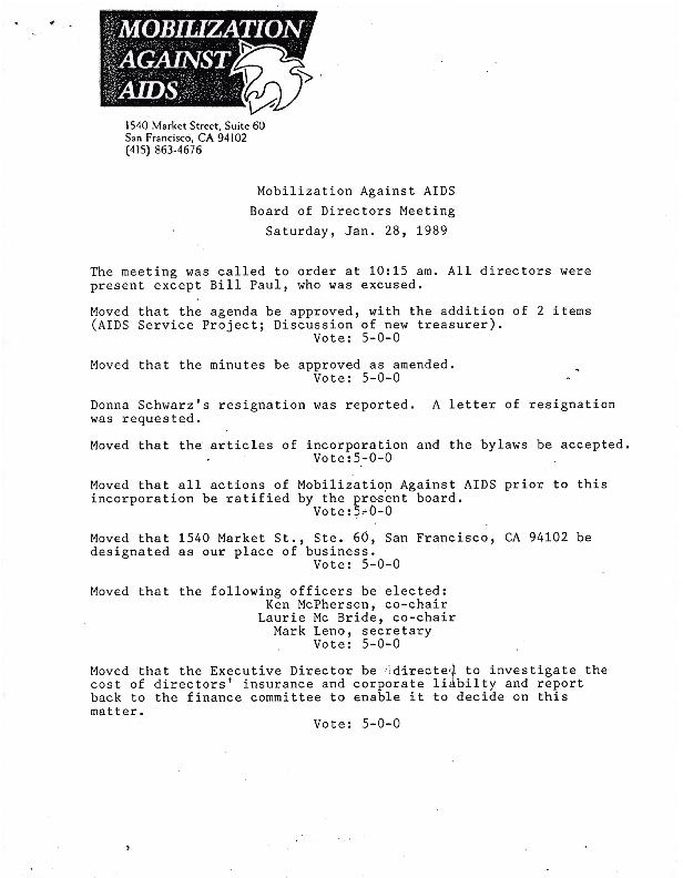Board Meetings: January 1989