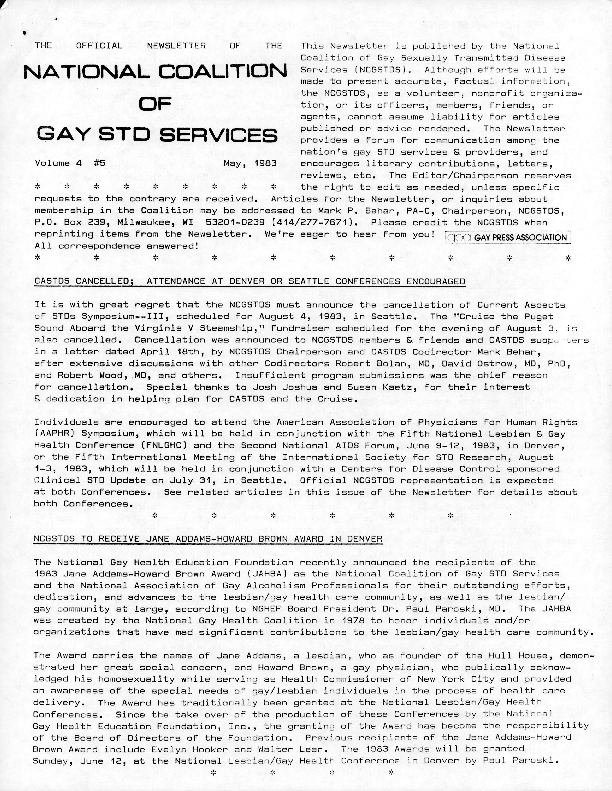 Newsletter, National Coalition of Gay STD Services (vol. 4:5)