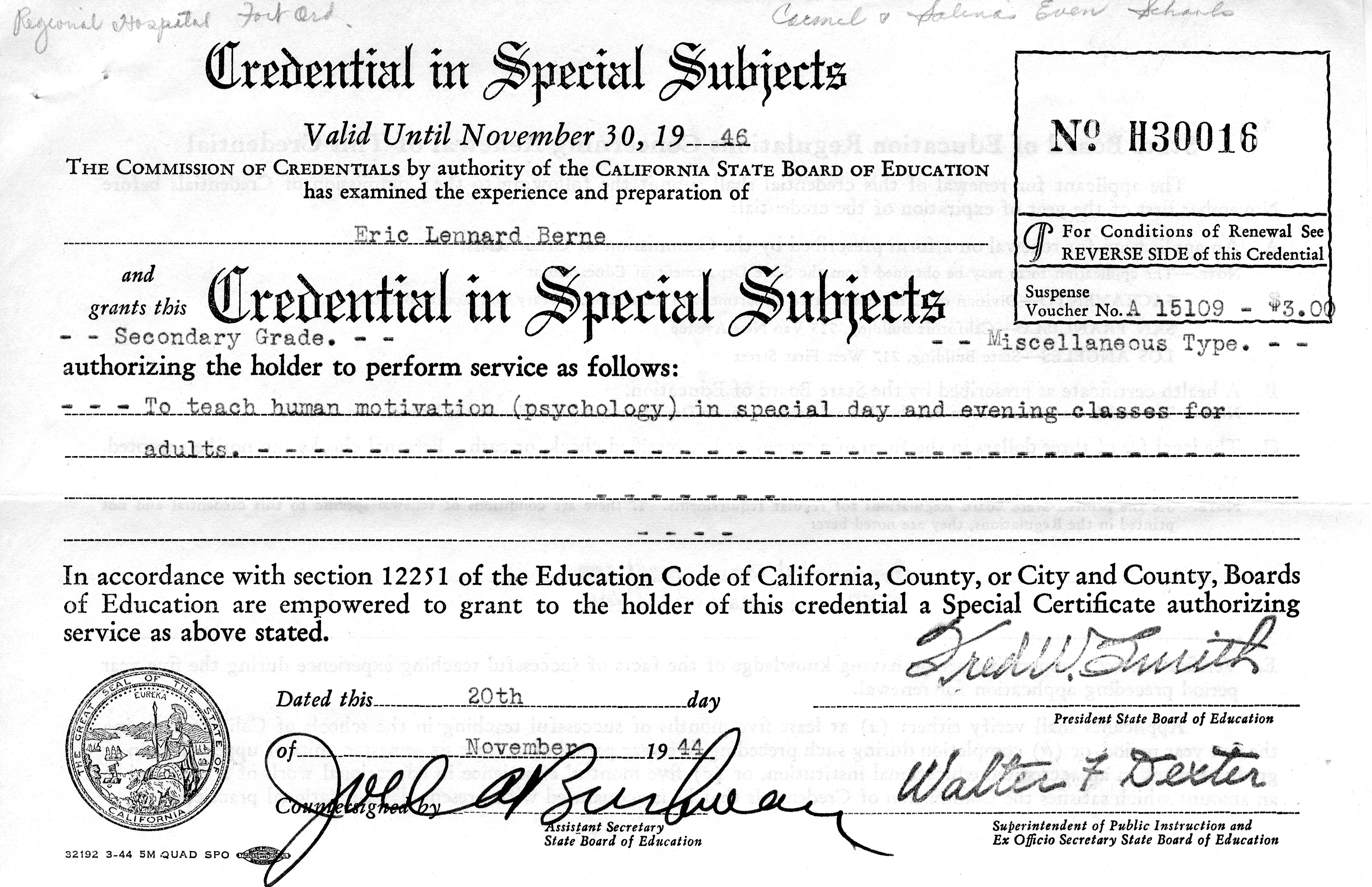 Eric Berne's credential in special subjects