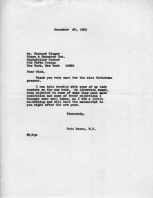 Eric Berne letter to Richard Kluger,  1969-12-26