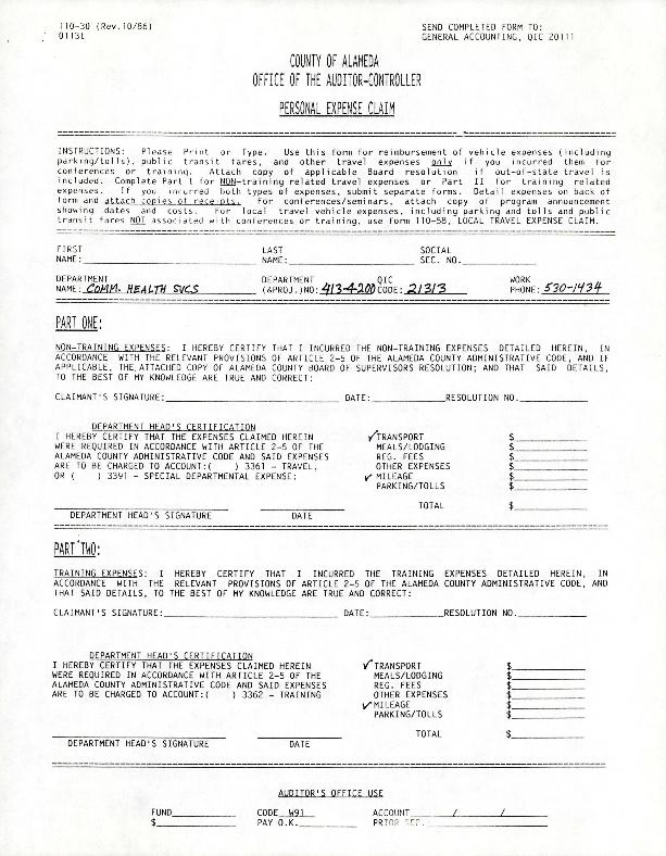 Alameda County Personal Expense Claim Forum
