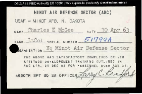 Personnel and flight orders for Charles E. McGee