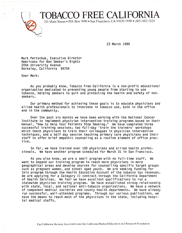 Letter to Mark Pershuck from Susan Smith