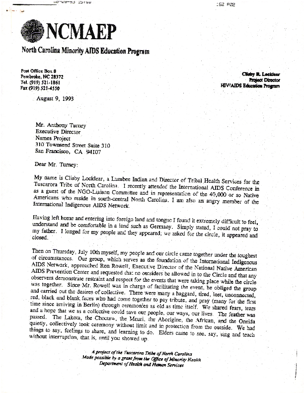 Correspondence: Locklear, Clisby R., North Carolina Minority AIDS Education Program (1993)