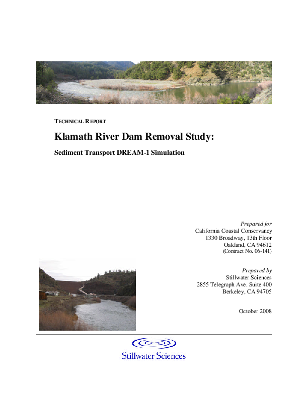 Technical Report: Klamath River Dam Removal Study - Sediment Transport DREAM-1 Simulation