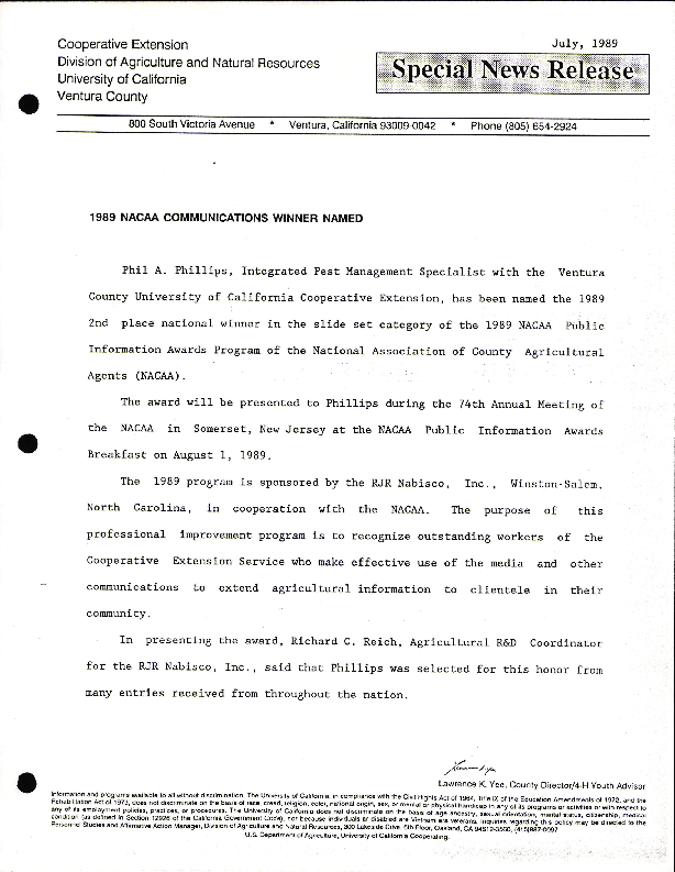 1989 NACAA Communications Winner Named