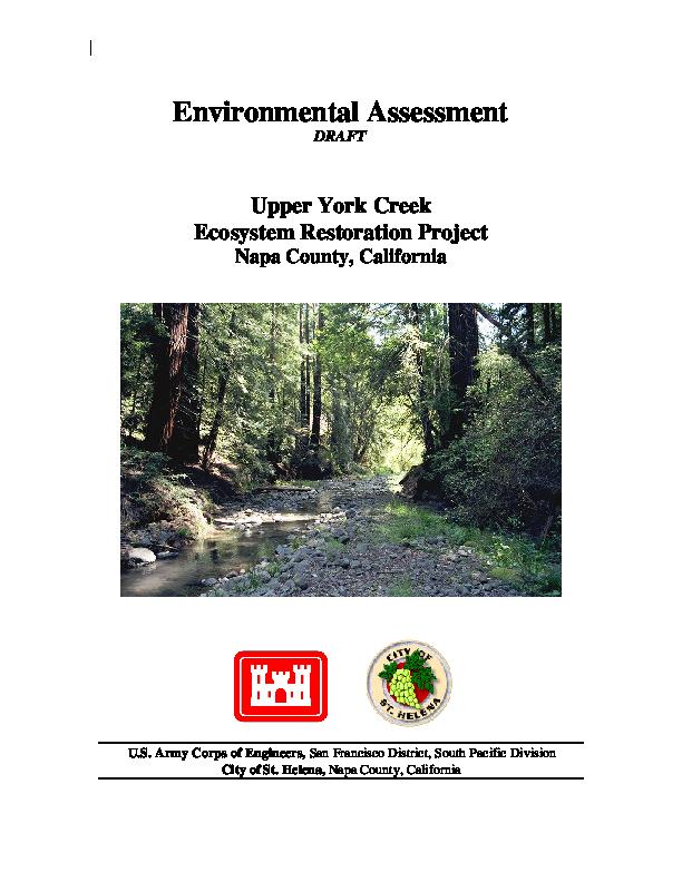 Draft Environmental Assessment for Upper York Creek Ecosystem Restoration Project, Napa County, California