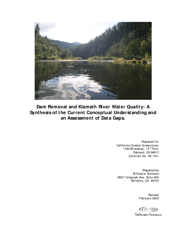 Dam Removal and Klamath River Water Quality: A Synthesis of the Current Conceptual Understanding and an Assessment of Data Gaps