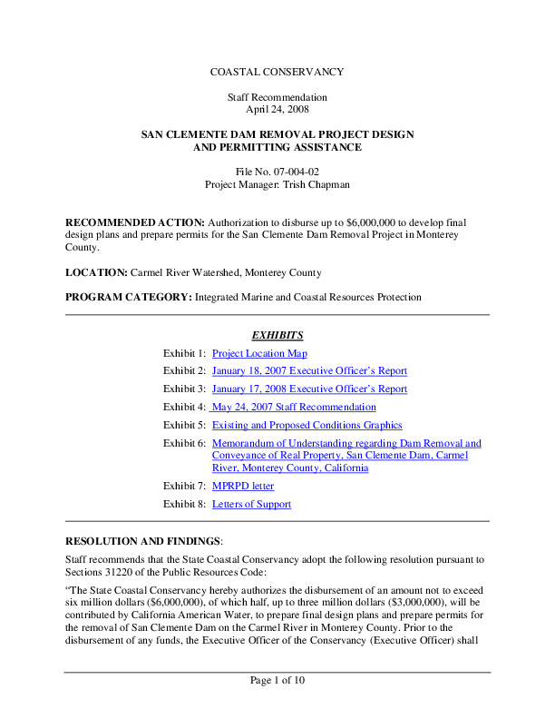 SAN CLEMENTE DAM REMOVAL PROJECT DESIGN AND PERMITTING ASSISTANCE