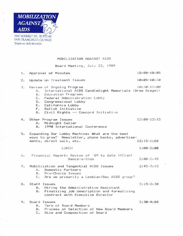 Board Meetings: July 1989