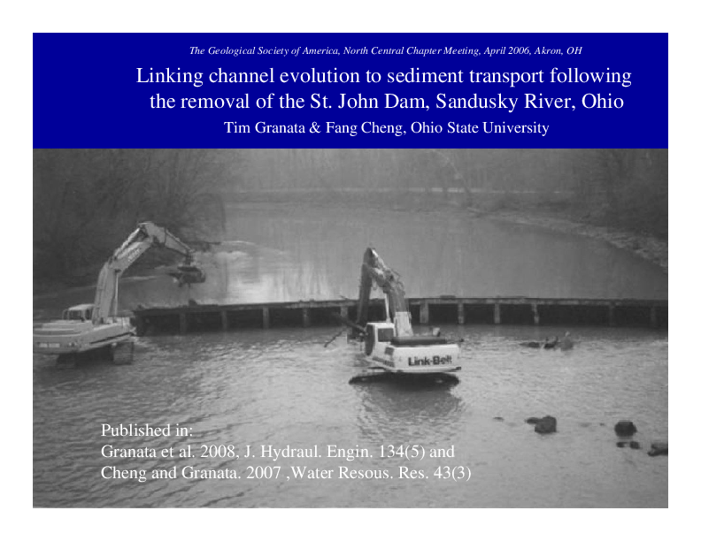 Linking Channel Evolution to Sediment Transport Following the Removal of the St. John Dam, Sandusky River, Ohio