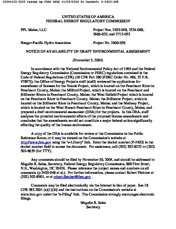 Draft Environmental Assessment on Amendment of Licenses