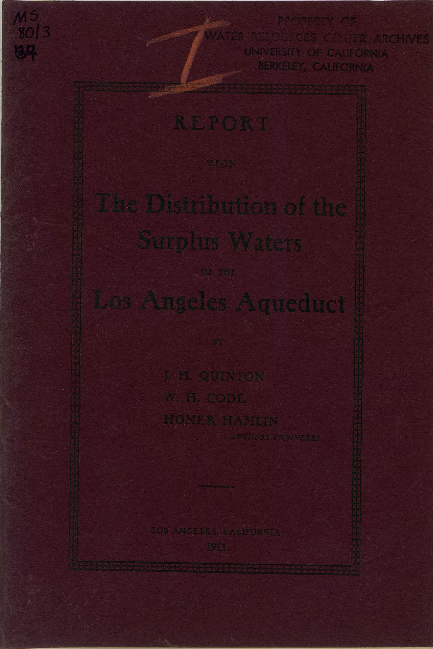 Report upon the distribution of the surplus waters of the Los Angeles Aqueduct