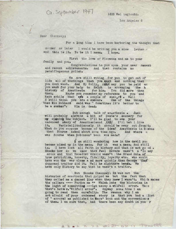 Arthur E. Guedel letter to Chauncey Leake