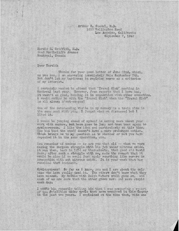 Arthur E. Guedel letter to Harold Griffith