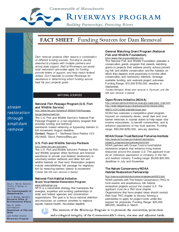 Fact Sheet: Funding Sources for Dam Removal
