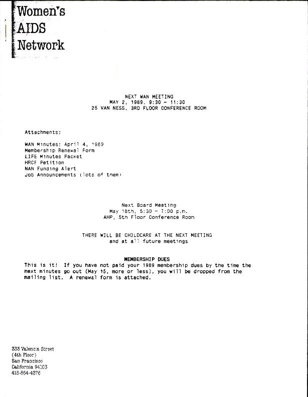 Membership Meeting Minutes: April 1989