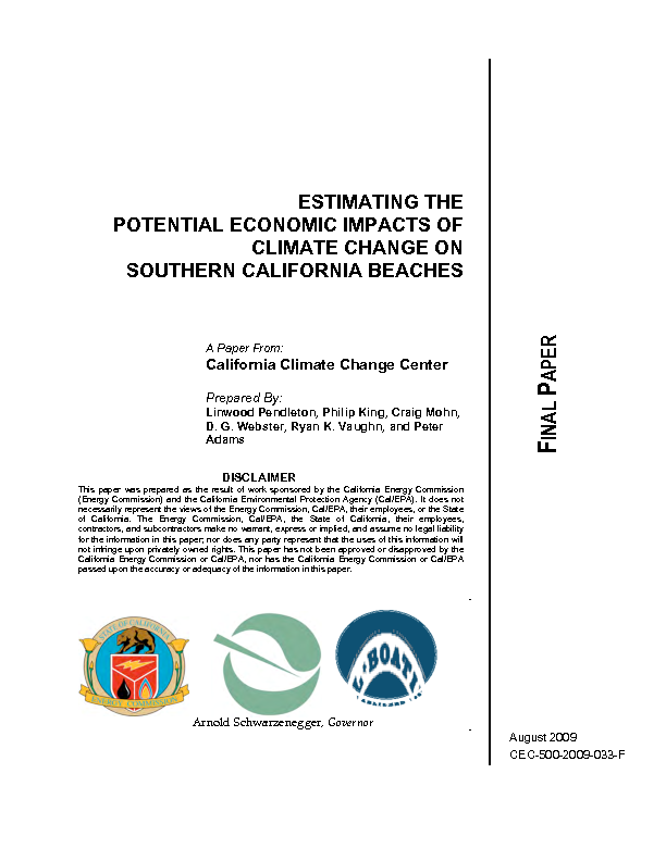 Estimating the potential economic impacts of climate change on southern California beaches: final paper