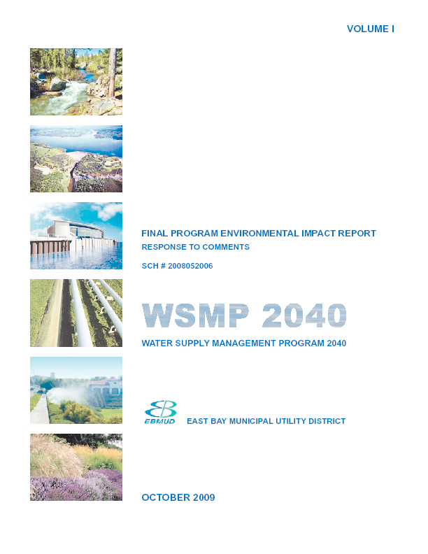 WSMP 2040 Water Supply Management Program 2040: final program environmental impact report response to comments