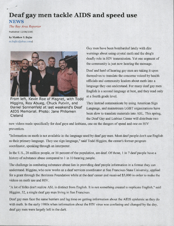 """""""Deaf Gay Men Tackle AIDS and Speed Use"""" by Michael Bajko ( Bay Area Reporter)"""