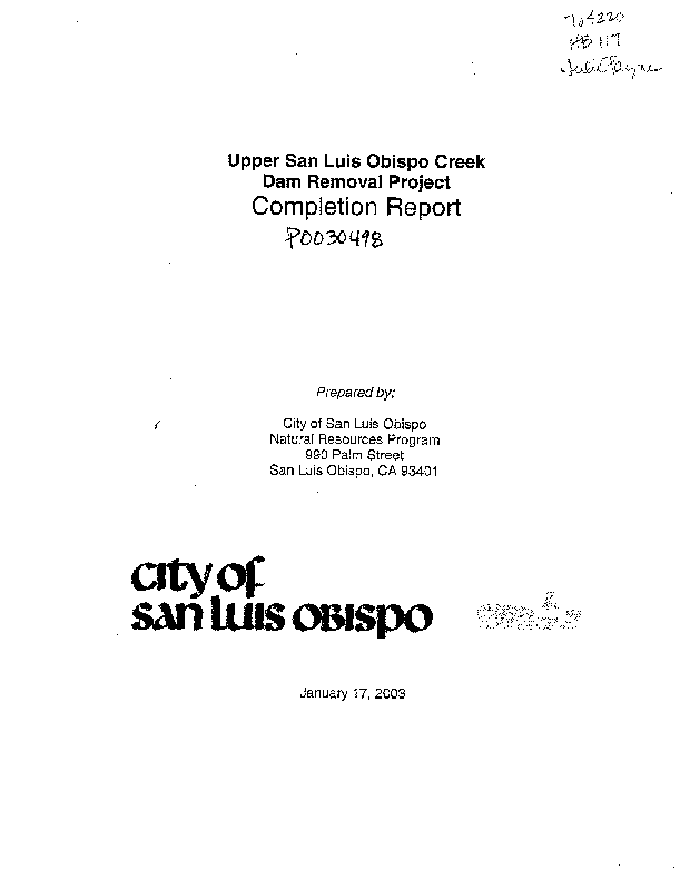 Upper San Luis Obispo Creek Dam Removal Project Completion Report