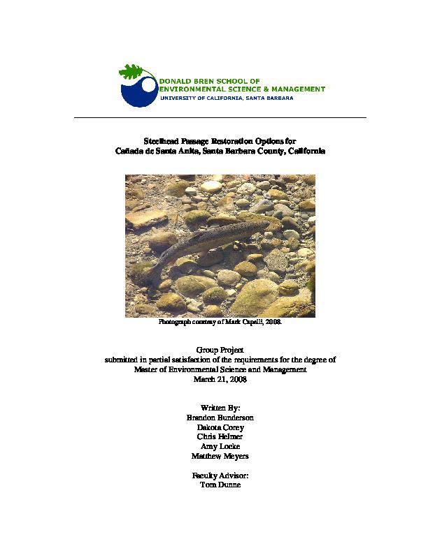Steelhead Passage Restoration Options for Canada de Santa Anita, Santa Barbara County, California